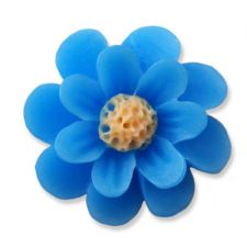 18mm Turquoise Blue Matte Daisy Resin Flatback Cabochons